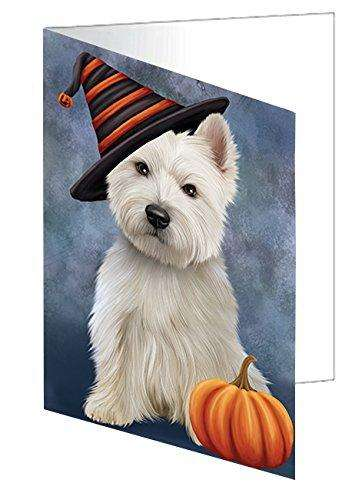 Happy Halloween West Highland White Terrier Dog Wearing Witch Hat with Pumpkin Greeting Card D166