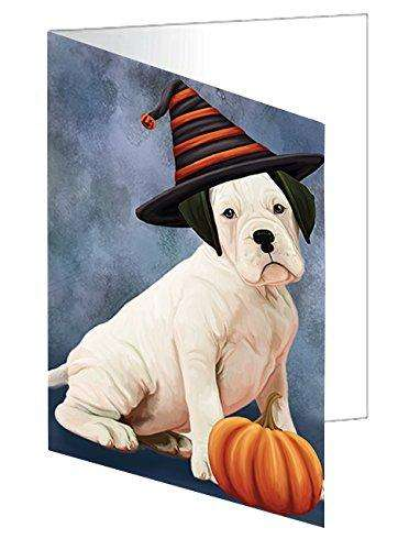 Happy Halloween White Boxer Dog Wearing Witch Hat with Pumpkin Greeting Card D175