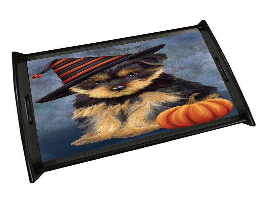 Happy Halloween Yorkshire Terrier Dog Wearing Witch Hat with Pumpkin Black Wood Serving Tray