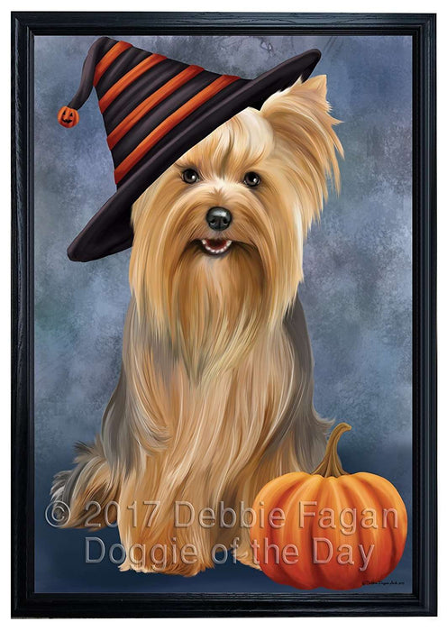 Happy Halloween Yorkshire Terrier Dog Wearing Witch Hat with Pumpkin Framed Canvas Print Wall Art