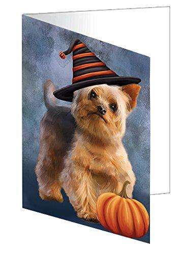 Happy Halloween Yorkshire Terrier Dog Wearing Witch Hat with Pumpkin Greeting Card D191