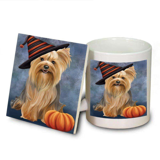 Happy Halloween Yorkshire Terrier Dog Wearing Witch Hat with Pumpkin Mug and Coaster Set