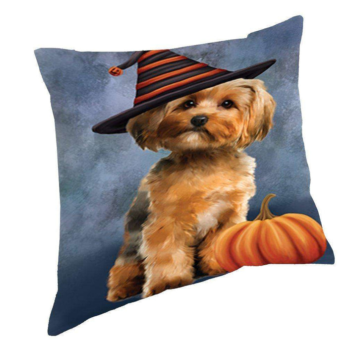 Happy Halloween Yorkshire Terrier Dog Wearing Witch Hat with Pumpkin Throw Pillow D264