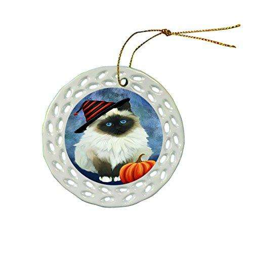 Happy Holidays Birman Cat Wearing Witch Hat Christmas Round Porcelain Ornament POR029
