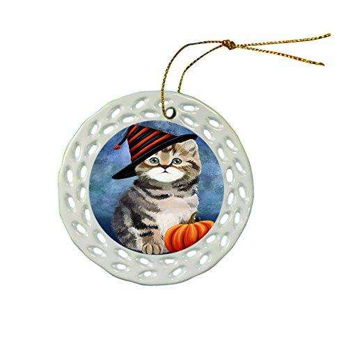 Happy Holidays British Shorthair Cat Wearing Witch Hat Christmas Round Porcelain Ornament POR042