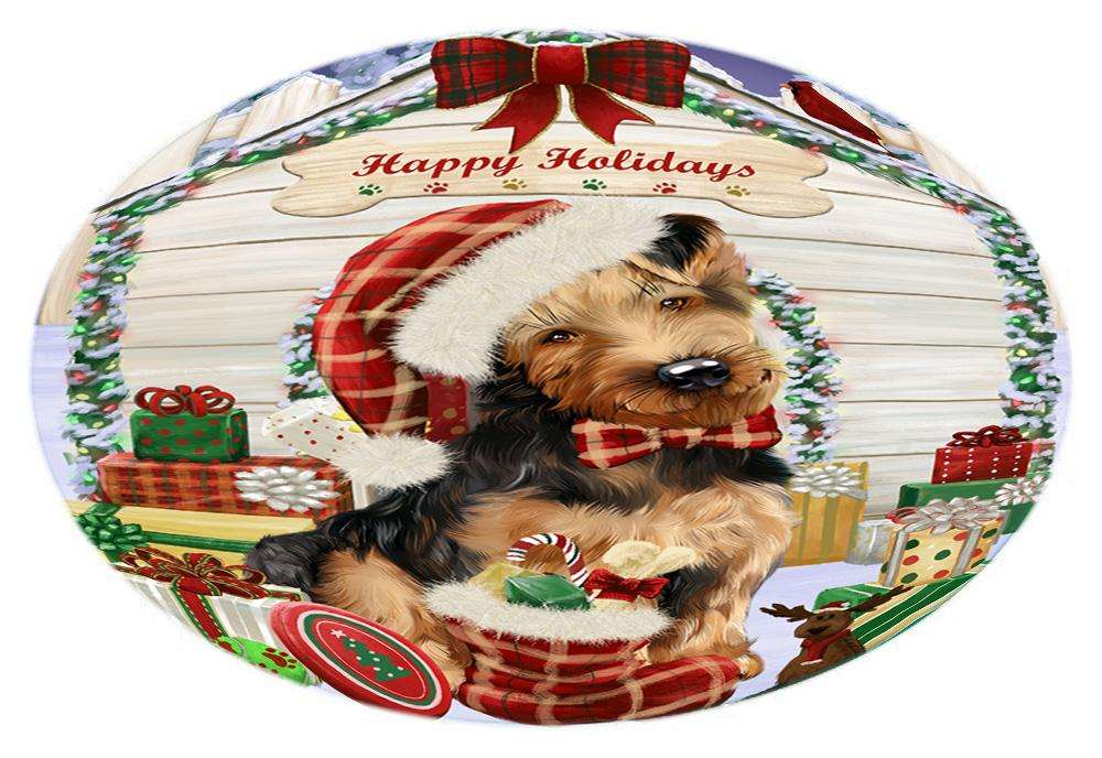 Happy Holidays Christmas Airedale Terrier Dog House with Presents Oval Envelope Seals OVE61188