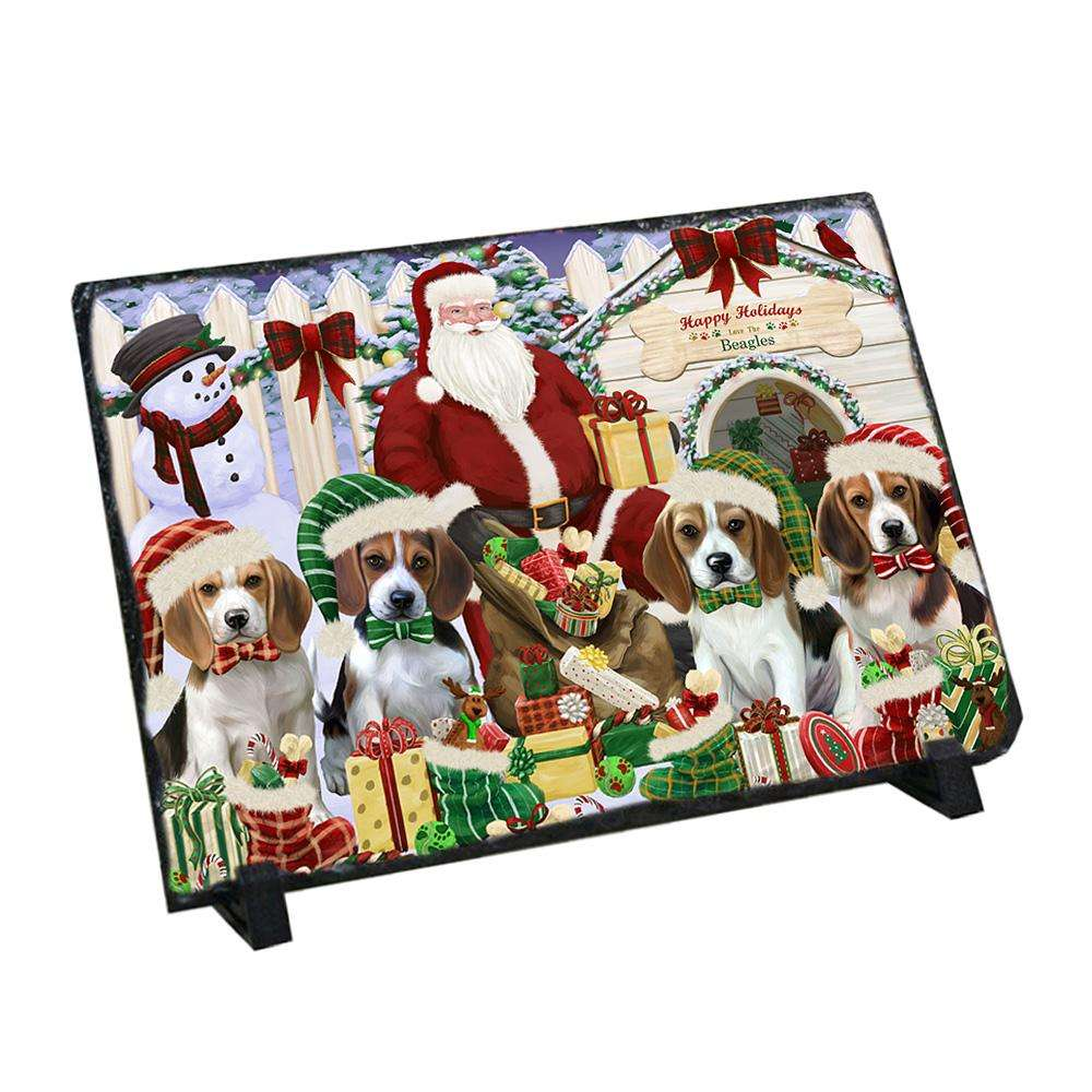 Happy Holidays Christmas Beagles Dog House Gathering Photo Slate SLT51277