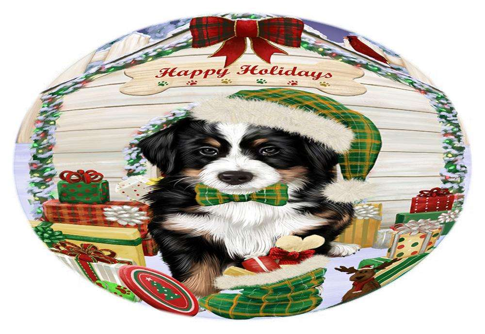 Happy Holidays Christmas Bernese Mountain Dog House with Presents Oval Envelope Seals OVE61340