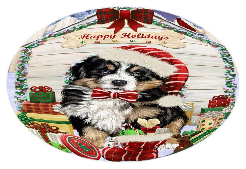 Happy Holidays Christmas Bernese Mountain Dog House with Presents Oval Envelope Seals OVE61352
