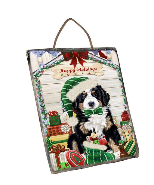 Happy Holidays Christmas Bernese Mountain Dog House with Presents Wall Décor Hanging Photo Slate SLTH51337