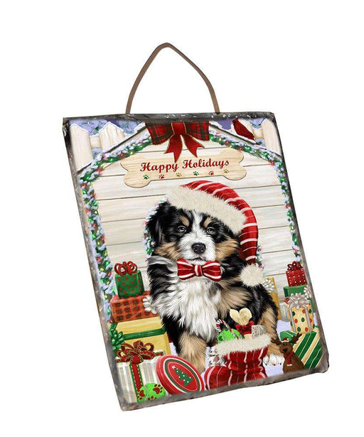 Happy Holidays Christmas Bernese Mountain Dog House with Presents Wall Décor Hanging Photo Slate SLTH51339
