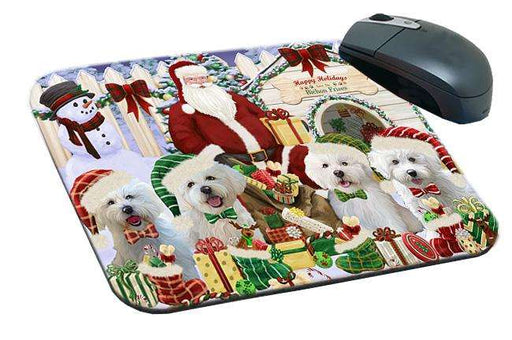 Happy Holidays Christmas Bichon Frises Dog House Gathering Mousepad MPD51281