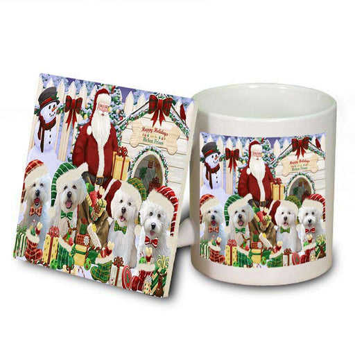 Happy Holidays Christmas Bichon Frises Dog House Gathering Mug and Coaster Set MUC51273