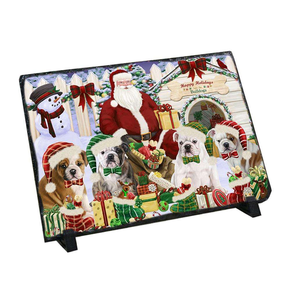 Happy Holidays Christmas Bulldogs House Gathering Photo Slate SLT51288