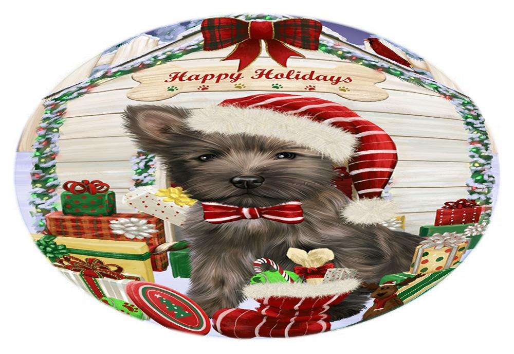 Happy Holidays Christmas Cairn Terrier Dog House with Presents Oval Envelope Seals OVE61512