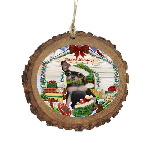 Happy Holidays Christmas Chihuahua House With Presents Wooden Christmas Ornament WOR49838
