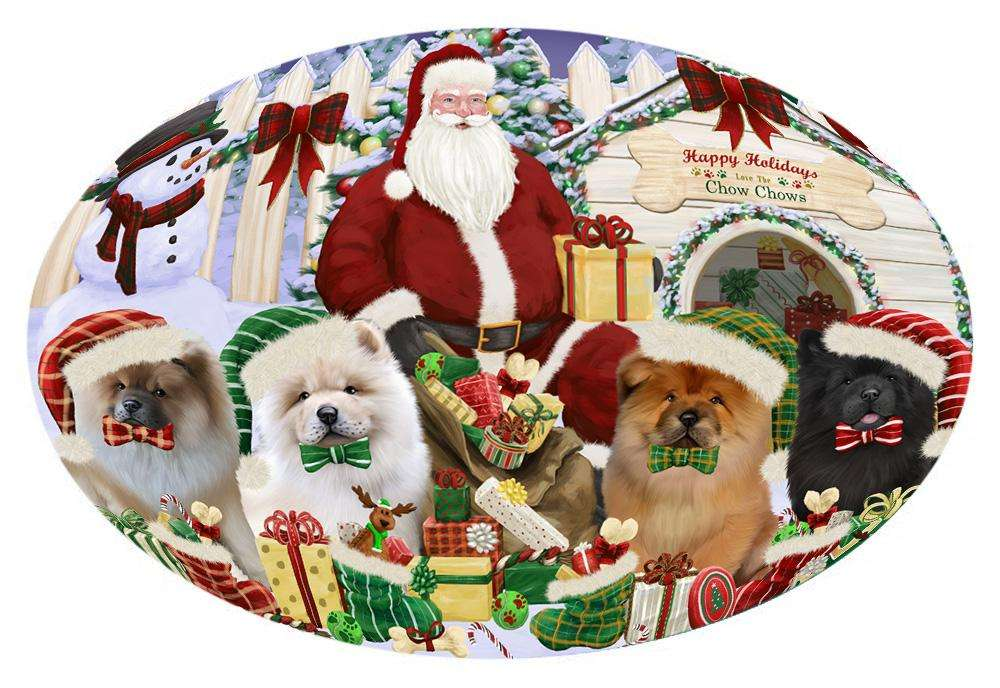 Happy Holidays Christmas Chow Chows Dog House Gathering Oval Envelope Seals OVE61784