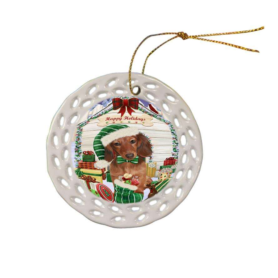 Happy Holidays Christmas Dachshund Dog House with Presents Ceramic Doily Ornament DPOR51381