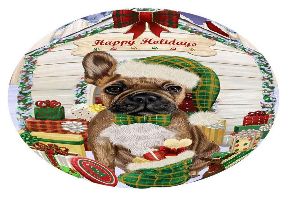 Happy Holidays Christmas French Bulldog House with Presents Oval Envelope Seals OVE61644