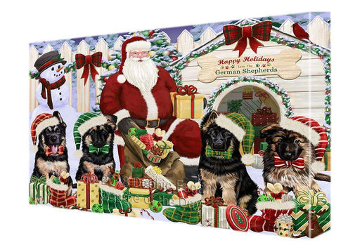 Happy Holidays Christmas German Shepherds Dog House Gathering Canvas Print Wall Art Décor CVS79118
