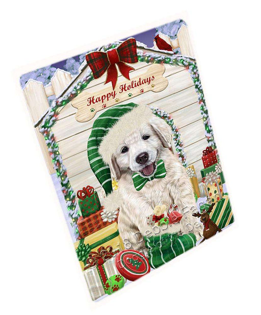 "Happy Holidays Christmas Golden Retriever Dog House With Presents Magnet Small (5.5"" x 4.25"") mag58332"