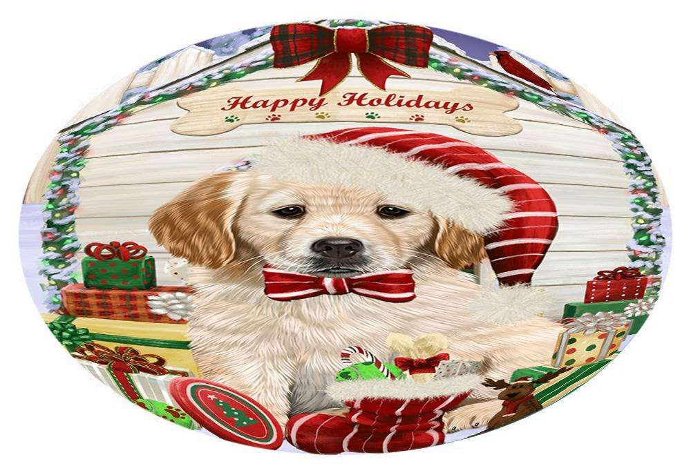 Happy Holidays Christmas Golden Retriever Dog House with Presents Oval Envelope Seals OVE61688