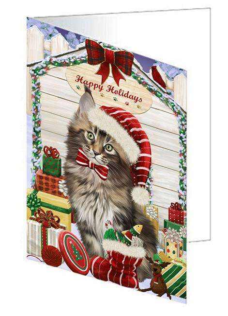 Happy Holidays Christmas Maine Coon Cat With Presents Greeting Card GCD62060