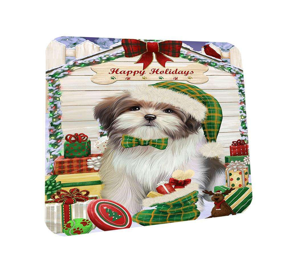 Happy Holidays Christmas Malti Tzu Dog House With Presents Coasters Set of 4 CST52063