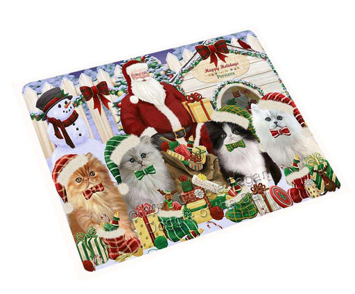 Happy Holidays Christmas Persian Cats House Gathering Cutting Board C58626