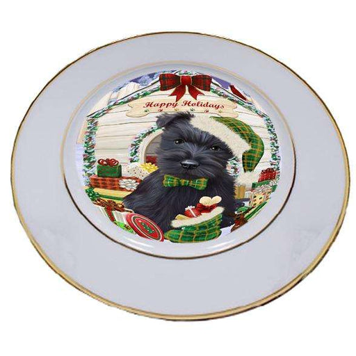 Happy Holidays Christmas Scottish Terrier Dog House With Presents Porcelain Plate PLT51495