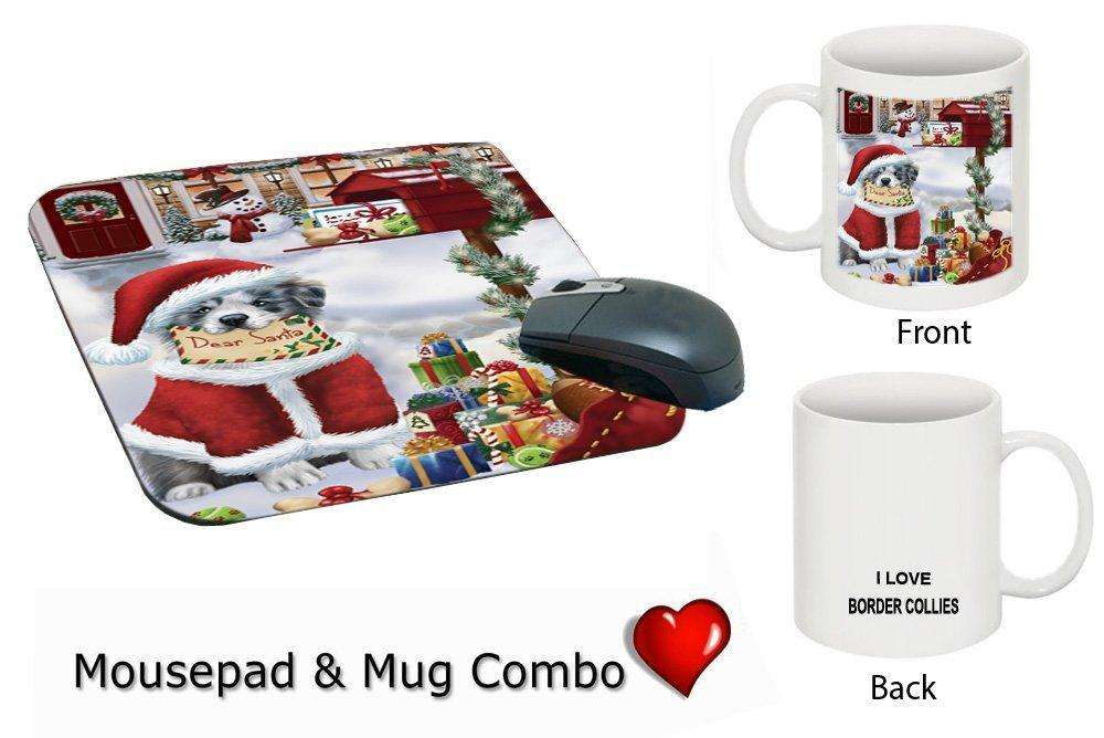 Happy Holidays Mailbox Border Collie Dog Christmas Mug & Mousepad Combo Gift Set MMCG0131