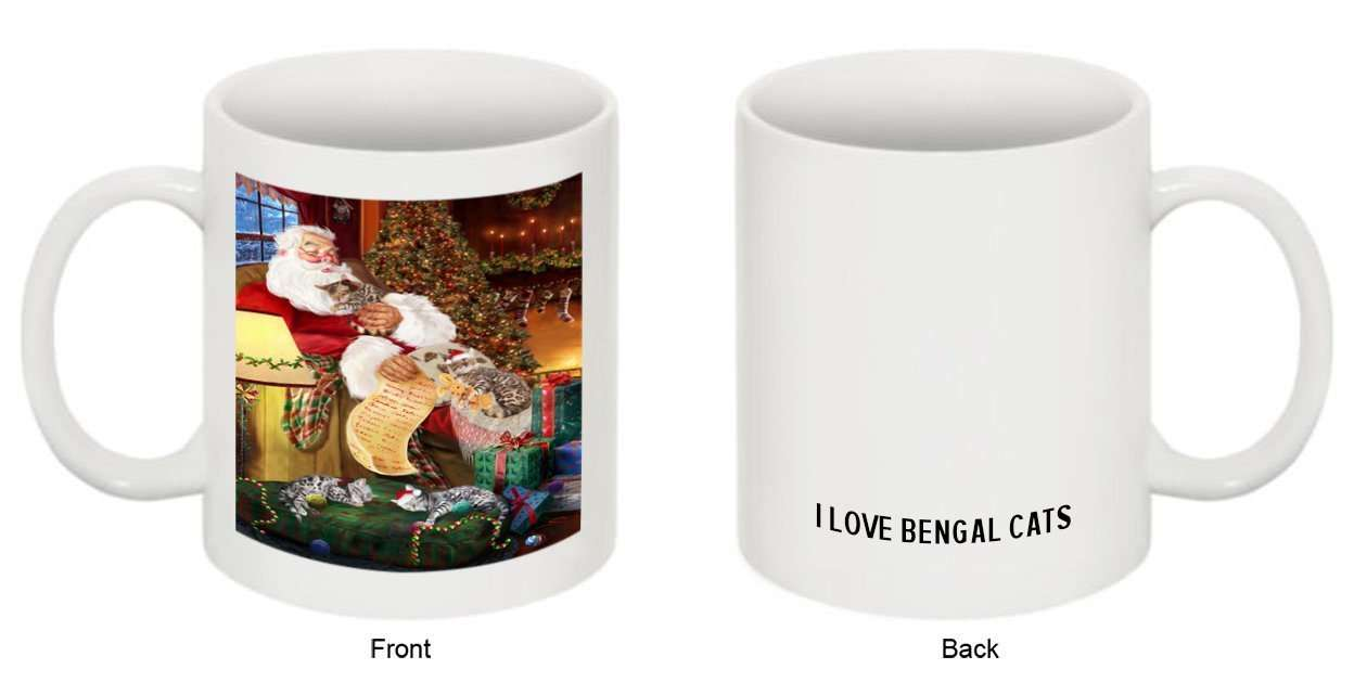Happy Holidays Santa Sleeping with Bengal Cat Christmas Mug CMG0002