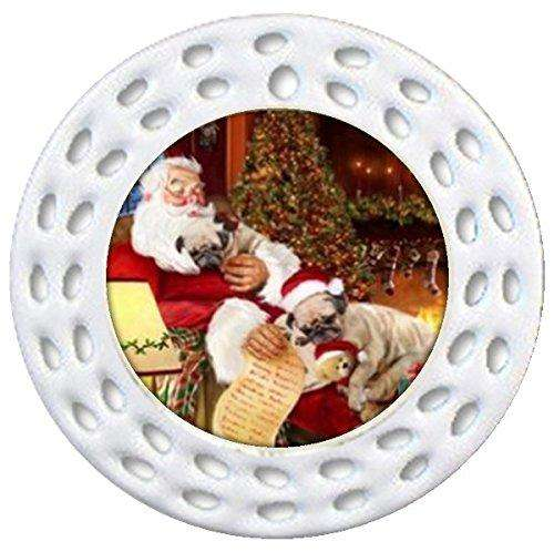 Happy Holidays w Santa Sleeping Christmas Pug Dogs Ornament