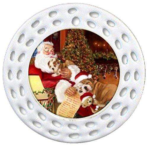 Happy Holidays w Santa Sleeping w Christmas Bulldog Dogs Holiday Ornament