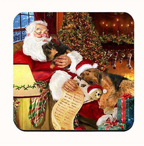 Happy Holidays with Santa Sleeping with Airedale Dogs Coasters (Set of 4)