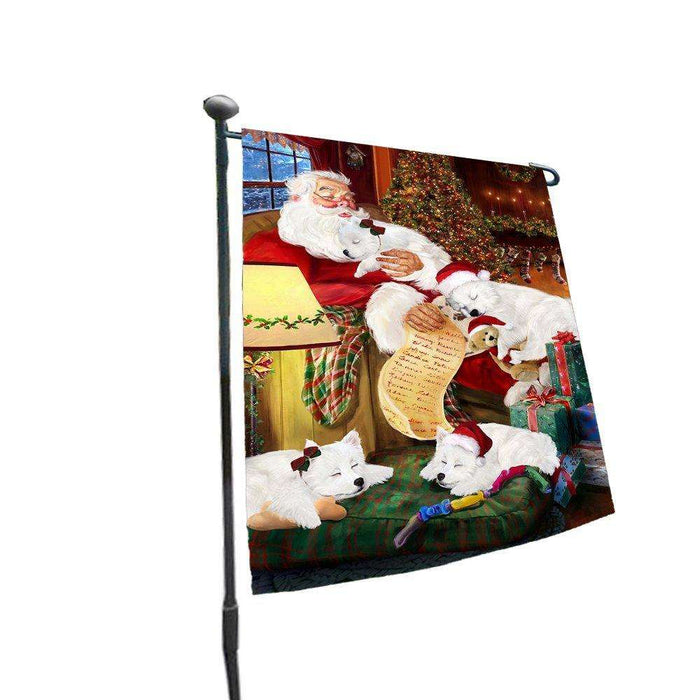 Happy Holidays with Santa Sleeping with American Eskimos Dogs Christmas Garden Flag