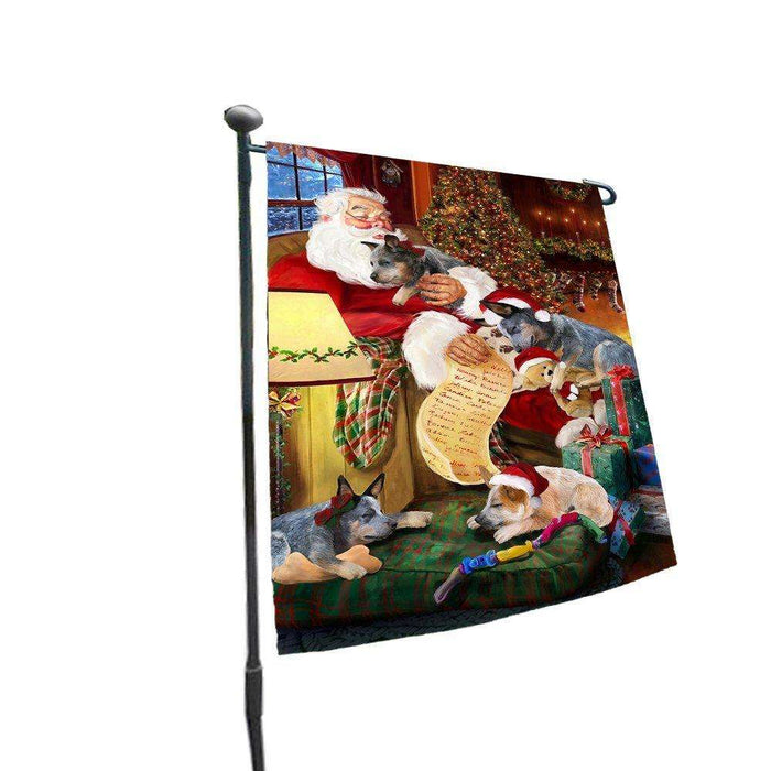 Happy Holidays with Santa Sleeping with Australian Cattle Dog Dogs Christmas Garden Flag