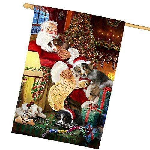 Happy Holidays with Santa Sleeping with Australian Shepherd Dogs Christmas House Flag