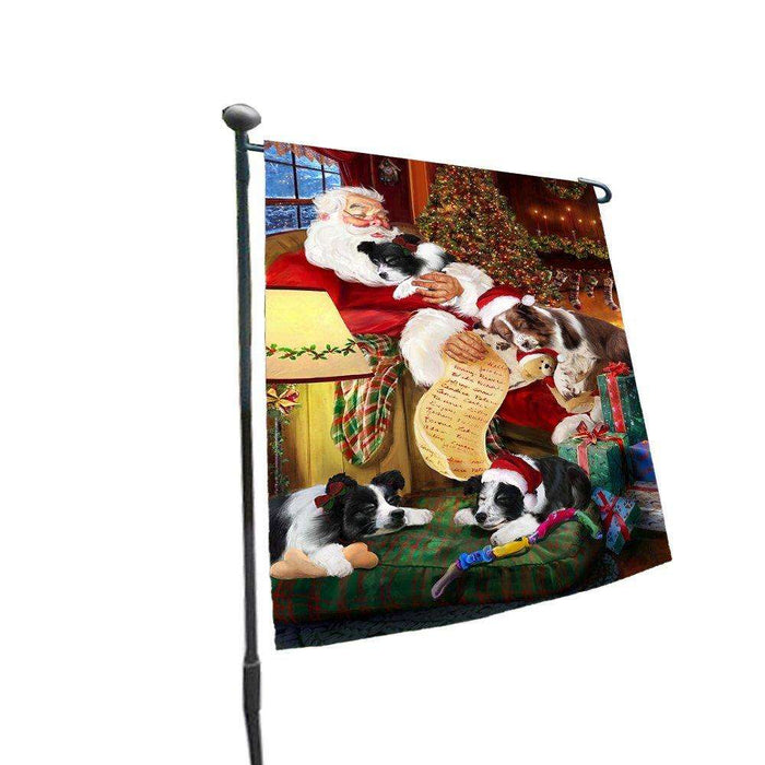 Happy Holidays with Santa Sleeping with Border Collie Dogs Christmas Garden Flag