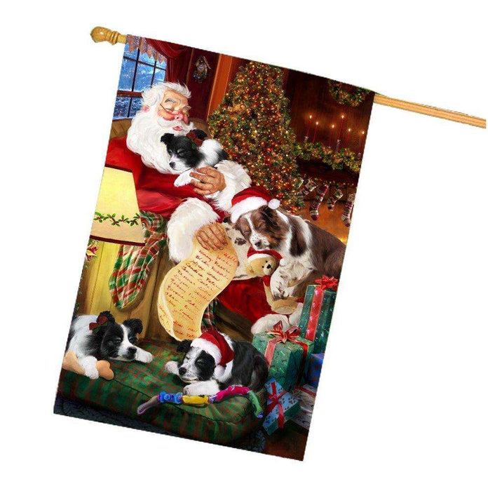 Happy Holidays with Santa Sleeping with Border Collie Dogs Christmas House Flag