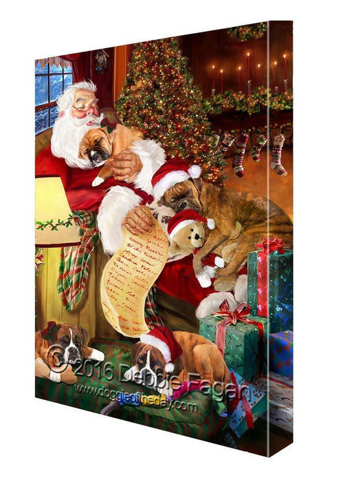 Happy Holidays with Santa Sleeping with Boxer Dogs Christmas Canvas