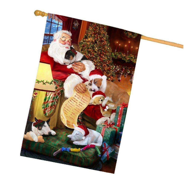 Happy Holidays with Santa Sleeping with Bull Terrier Dogs Christmas House Flag