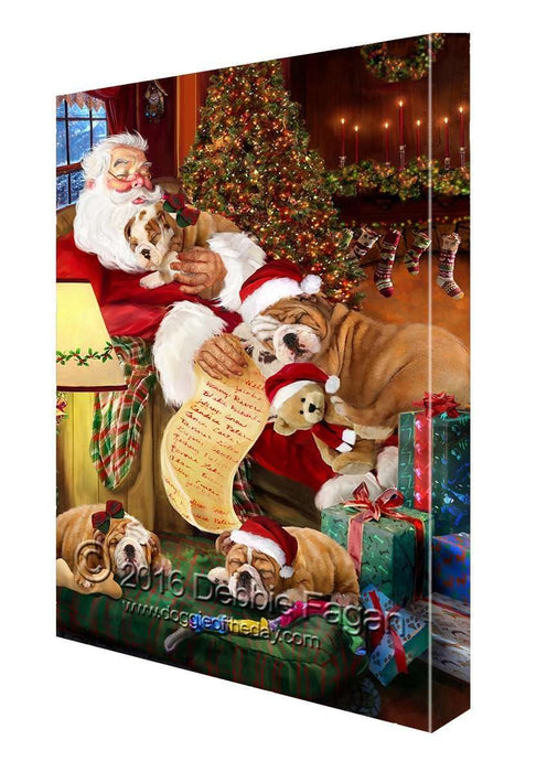 Happy Holidays with Santa Sleeping with Bulldogs Christmas Canvas
