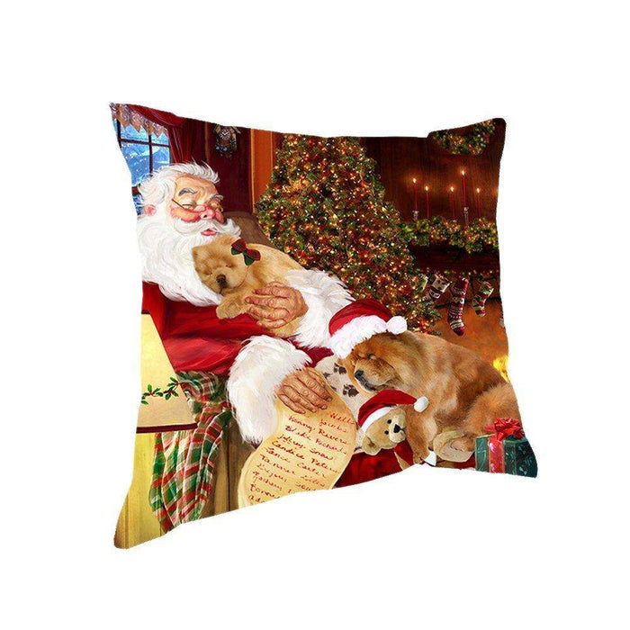 Happy Holidays with Santa Sleeping with Chow Chow Dogs Christmas Pillow