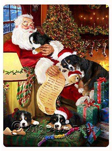 Happy Holidays with Santa Sleeping with Christmas Bernese Mountain Dogs Tempered Cutting Board
