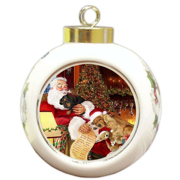 Happy Holidays with Santa Sleeping with Christmas Cocker Spaniel Dogs Holiday Ornament