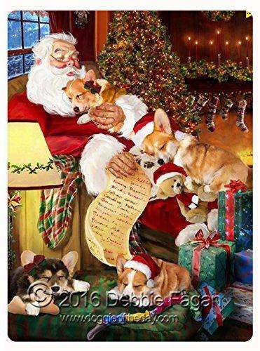 "Happy Holidays with Santa Sleeping with Christmas Corgi Dogs Large Tempered Cutting Board 15.74"" x 11.8"" x 5/32"""