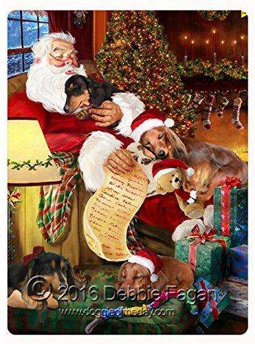 "Happy Holidays with Santa Sleeping with Christmas Dachshund Dogs Large Tempered Cutting Board 15.74"" x 11.8"" x 5/32"""