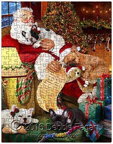 Happy Holidays with Santa Sleeping with Christmas French Bulldog Dogs 252 Pc. Puzzle with Photo Tin