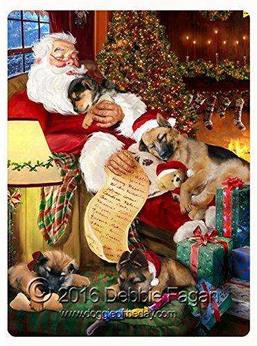 "Happy Holidays with Santa Sleeping with Christmas German Shepherd Dogs Large Tempered Cutting Board 15.74"" x 11.8"" x 5/32"""